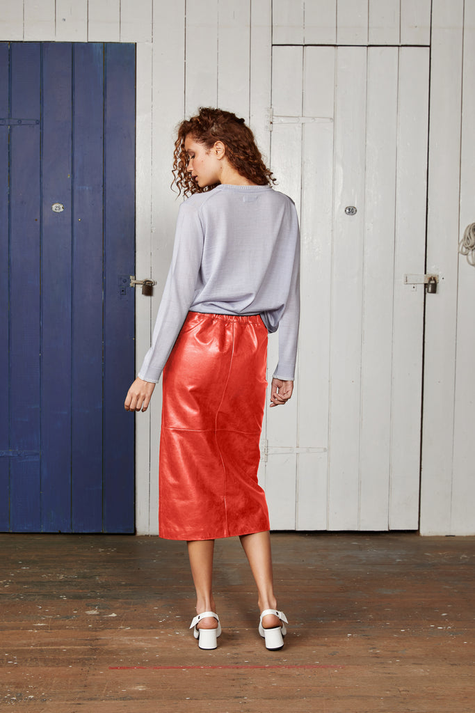 CUTTERS LEATHER MIDI SKIRT.