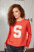 "Binny Ladies Ultra Fine Merino Wool, Tradewinds South ""S"" Crewneck Knit in Red"