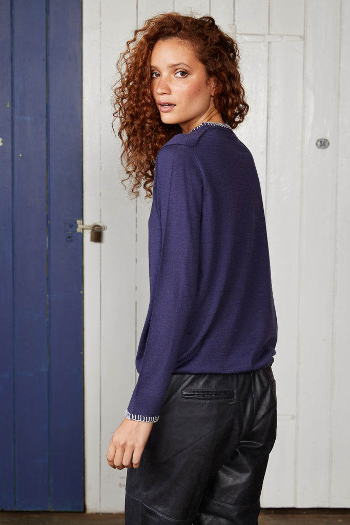 "Binny Ladies Ultra Fine Merino Wool, Tradewinds West ""W"" Crewneck Knit in Navy Blue"
