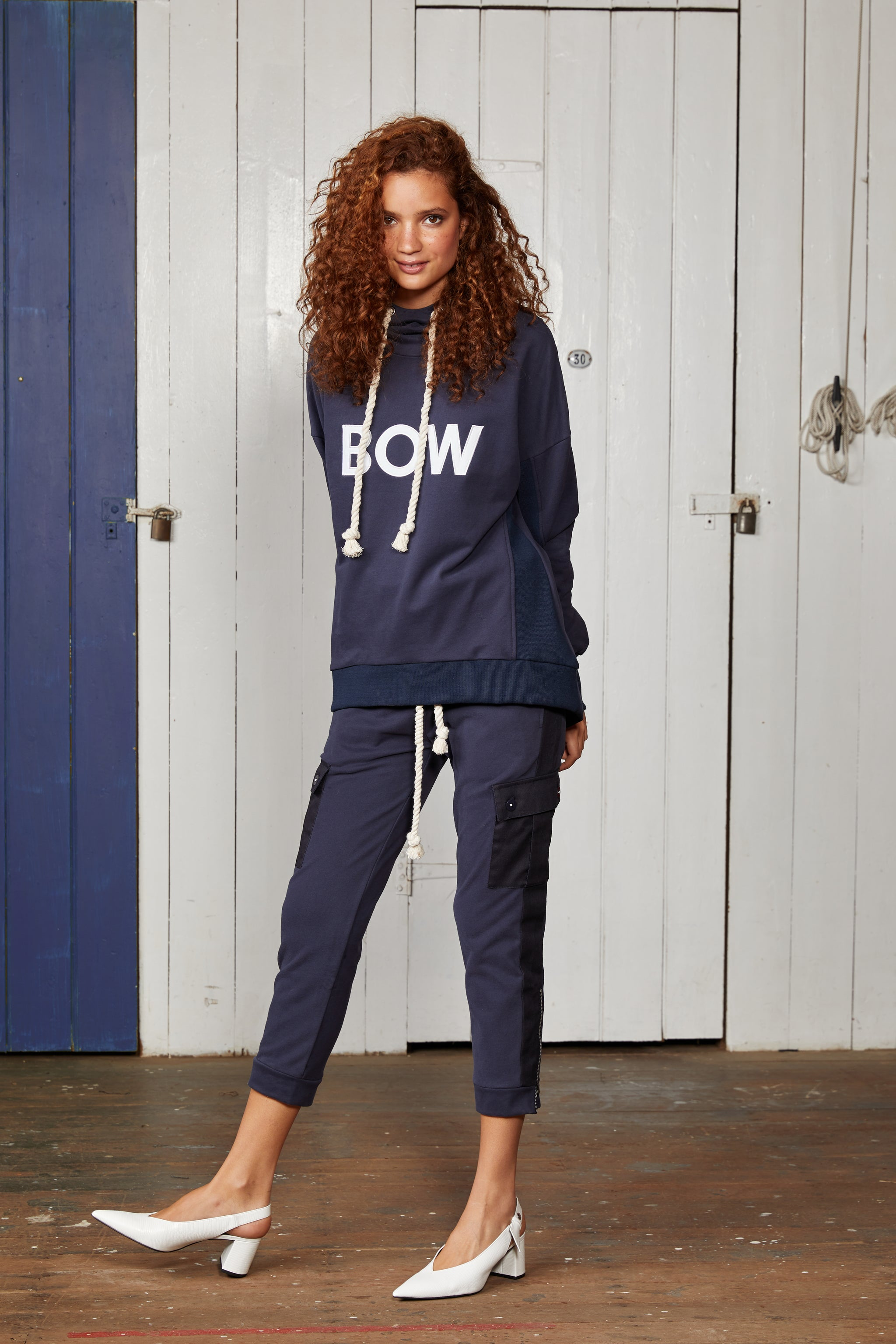 Binny Ladies Suede Cotton Navy Blue Bow and Stern Relaxed Hoodie with Cowl Neck Collar