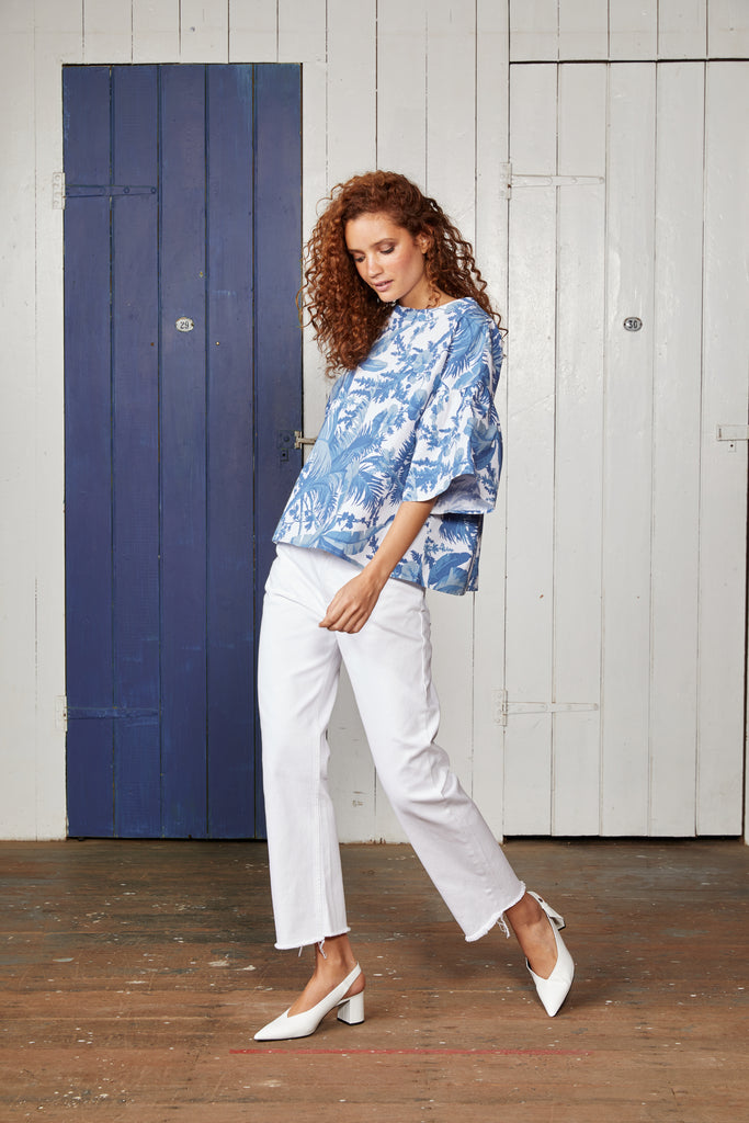Blue and White Palm Tree Print, Ladies Coconut Binny Blouse Top with Ruffle Sleeves