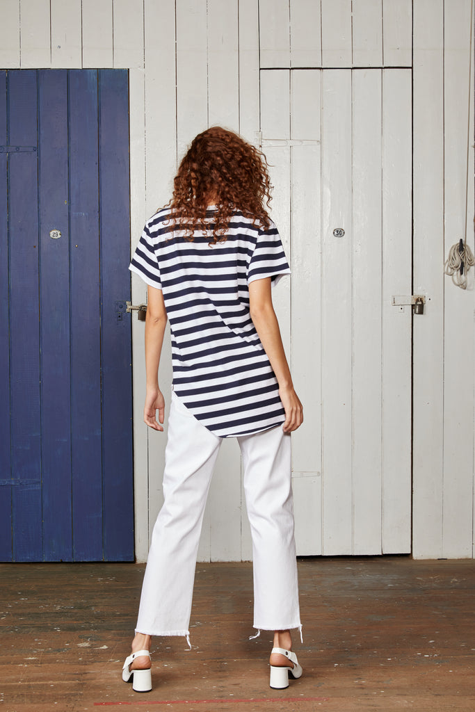 Binny Crew Neck Relaxed Fit Ladies T Shirt with Navy Blue and White Stripes and Front Graphic