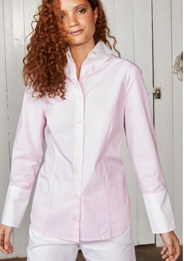 Pale Pink Long Sleeved Shirt with Contrast Cuff and Colour