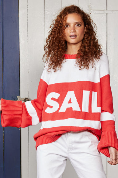 Binny Ladies Sail Away Oversized Cotton Knit Jumper with Roll Back Cuffs in Red and White Stripes