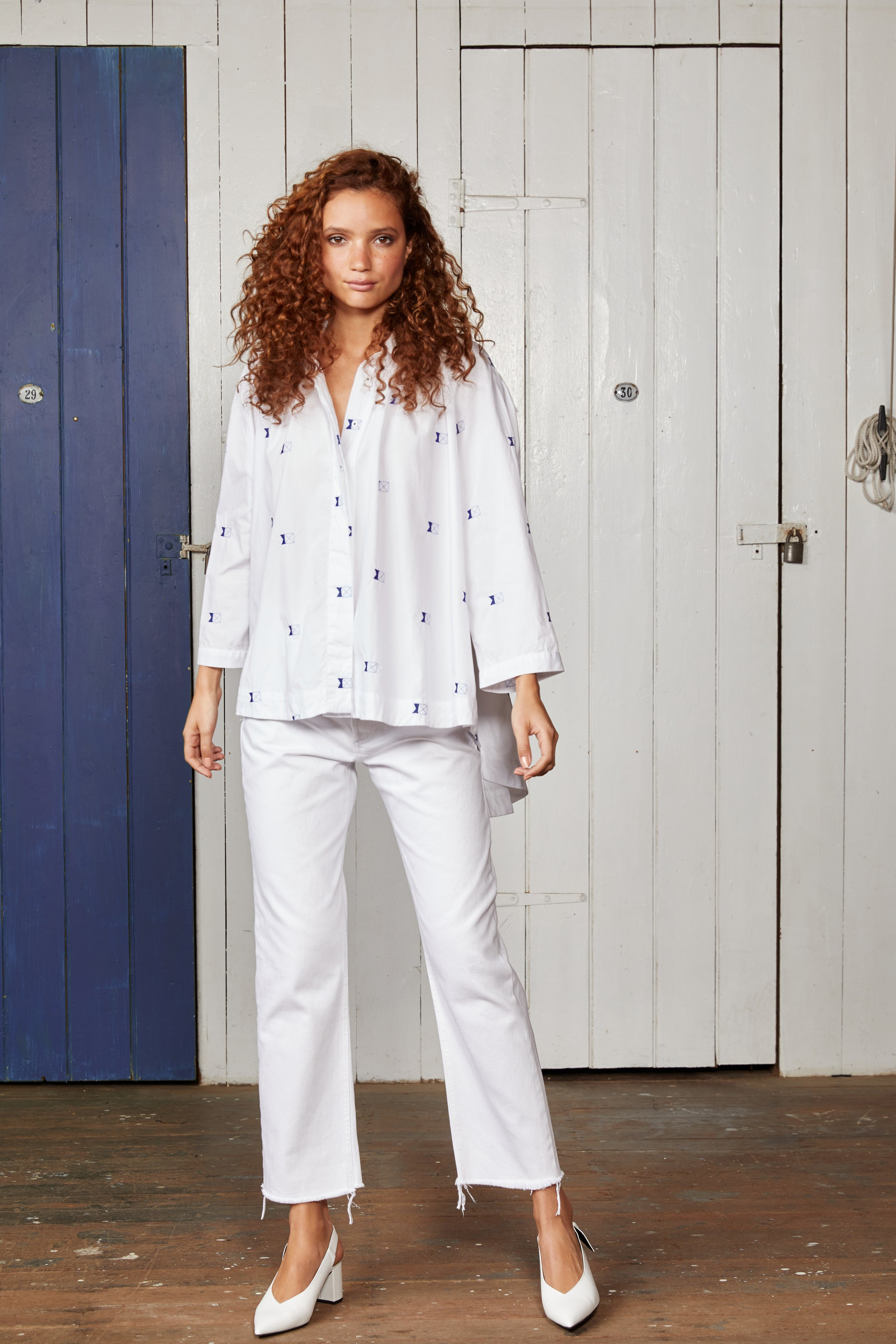 White Oversized Cotton Shirt with Embroidered Flags