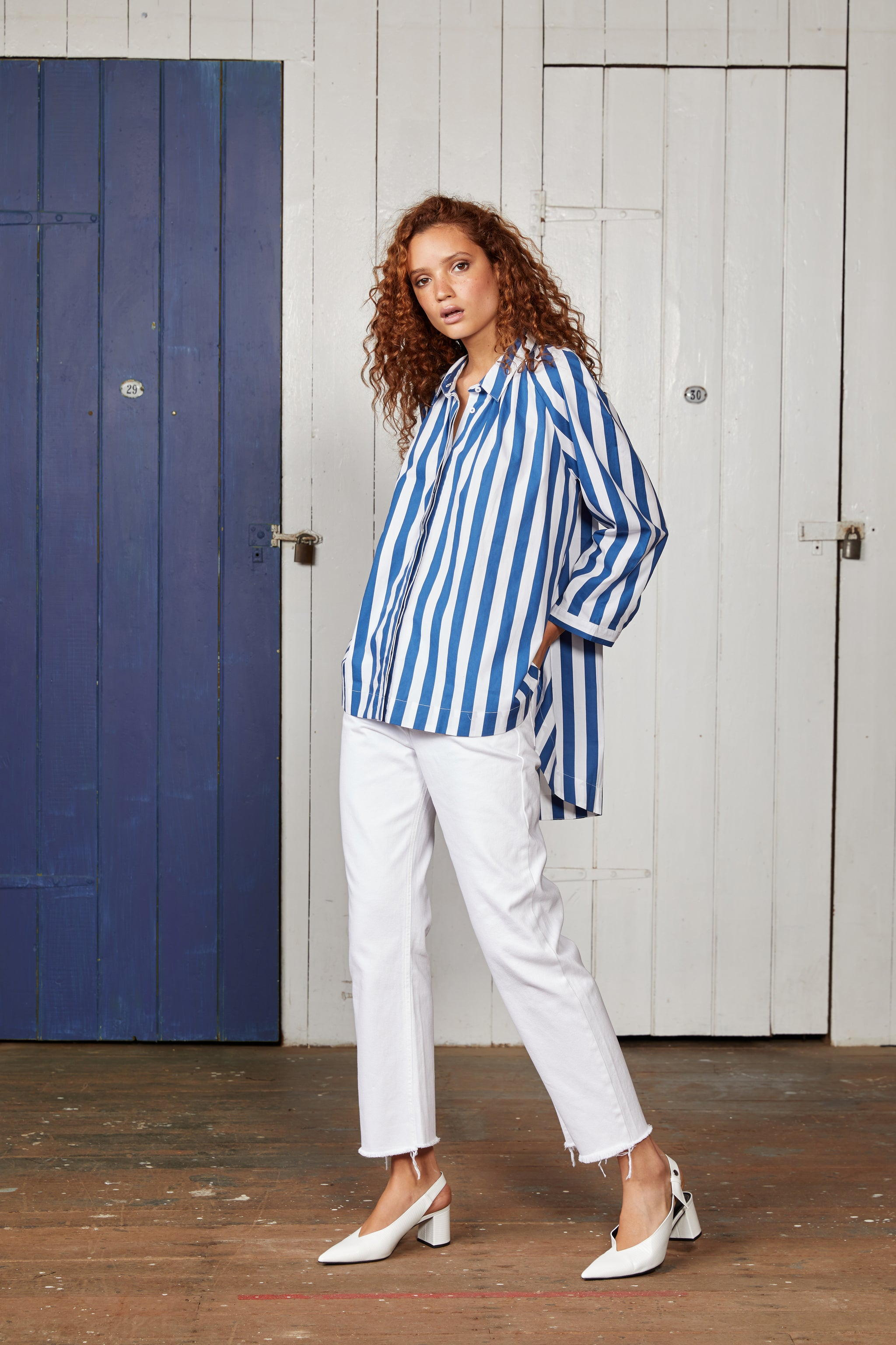Blue and White Striped Oversized Cotton Shirt