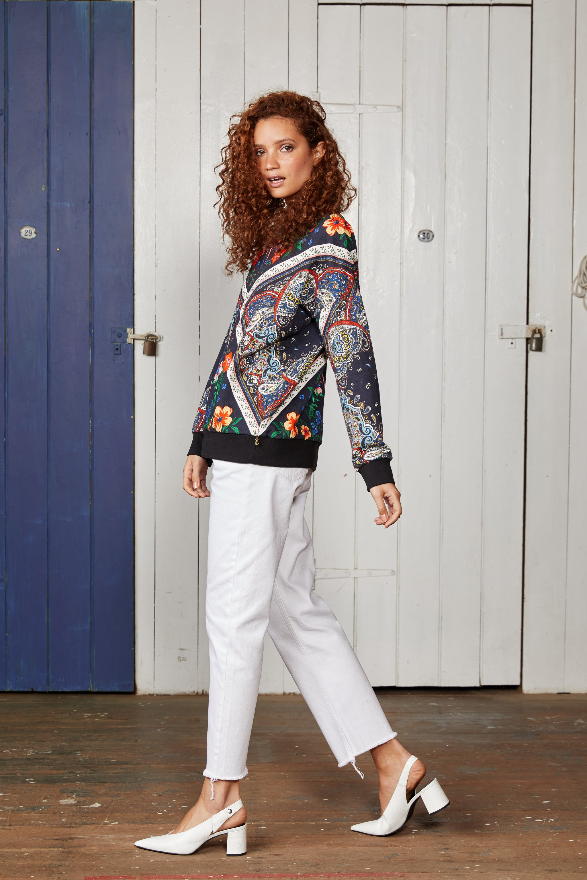 Binny Ladies Portobelo Relaxed Fit, Crew Neck Sweater with Multi Coloured Pattern