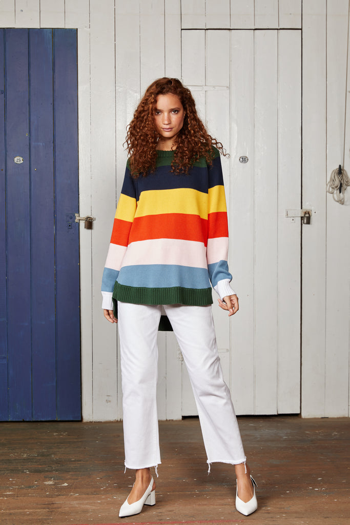 Binny Ladies Doldrums Multi-Colour Knit Oversized Jumper