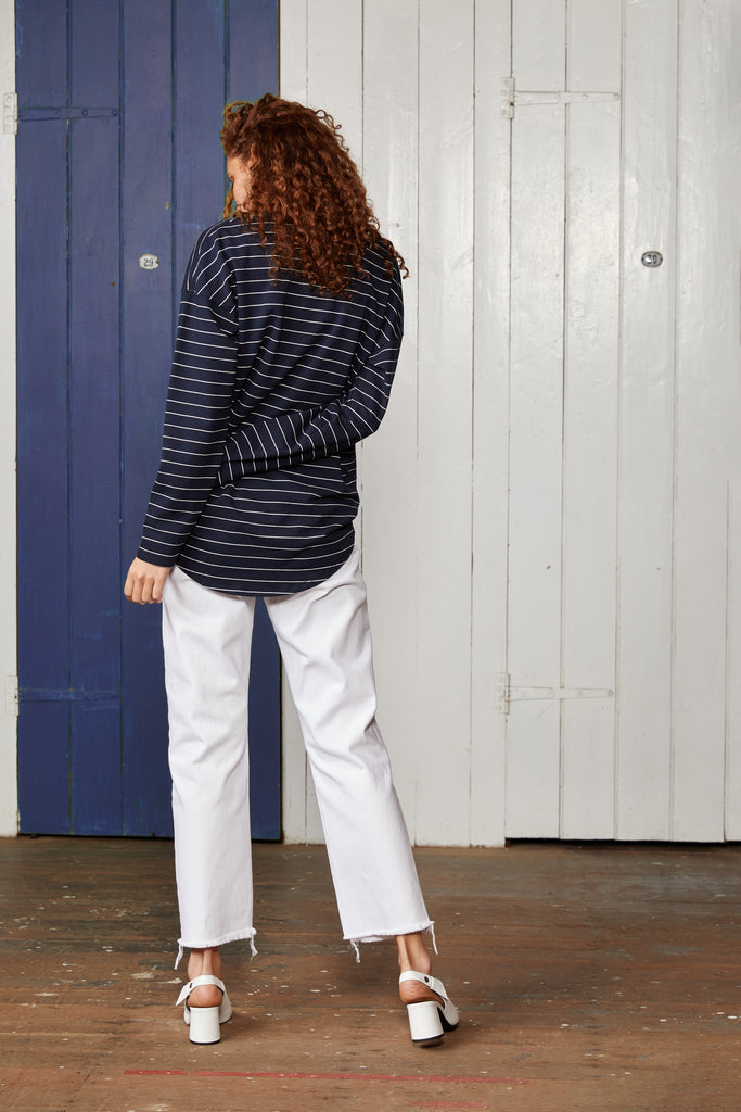 Binny Ladies Royal Fortune Long Sleeve, Relaxed Fit, Navy Pinstripe Top with Crew Neck