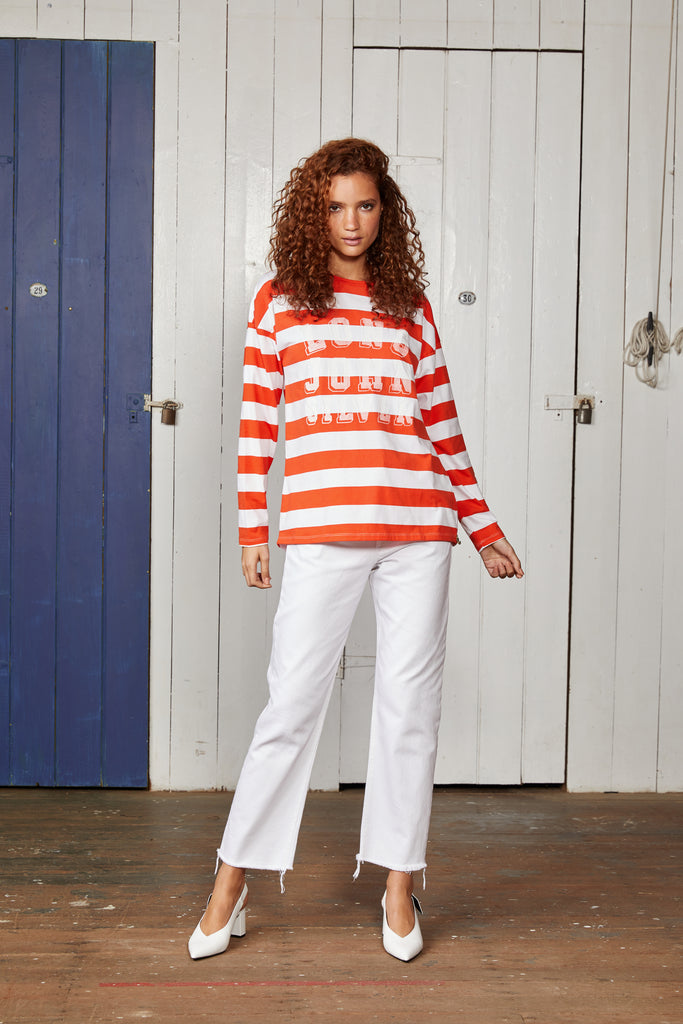 Binny Red and White Striped Long John Silver Long Sleeved Ladies Top with Crew Neck