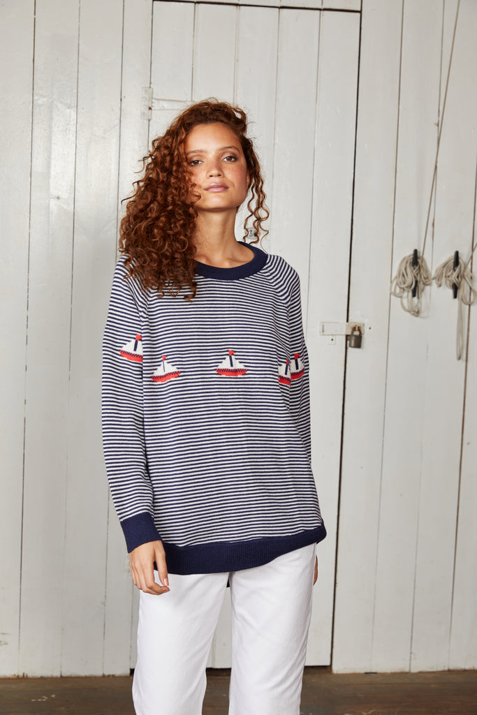 Binny Ladies 100% Australian Merino Wool Crewneck Sweater with Navy Blue and White Stripes and Boat Detail.