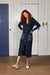 Binny Brigadier Mid Calf Length Navy Knit Coat Dress