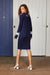 Binny Fine Cable Knit, Knee Length, Navy Blue Sweter Dress with V Neck and White Accents
