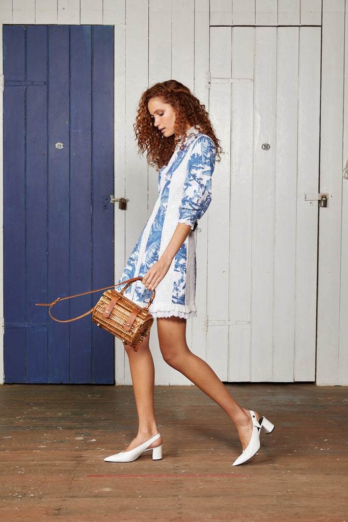 Binny Fit and Flare Blue and White Clipper Panel Dress with Broderie Lace