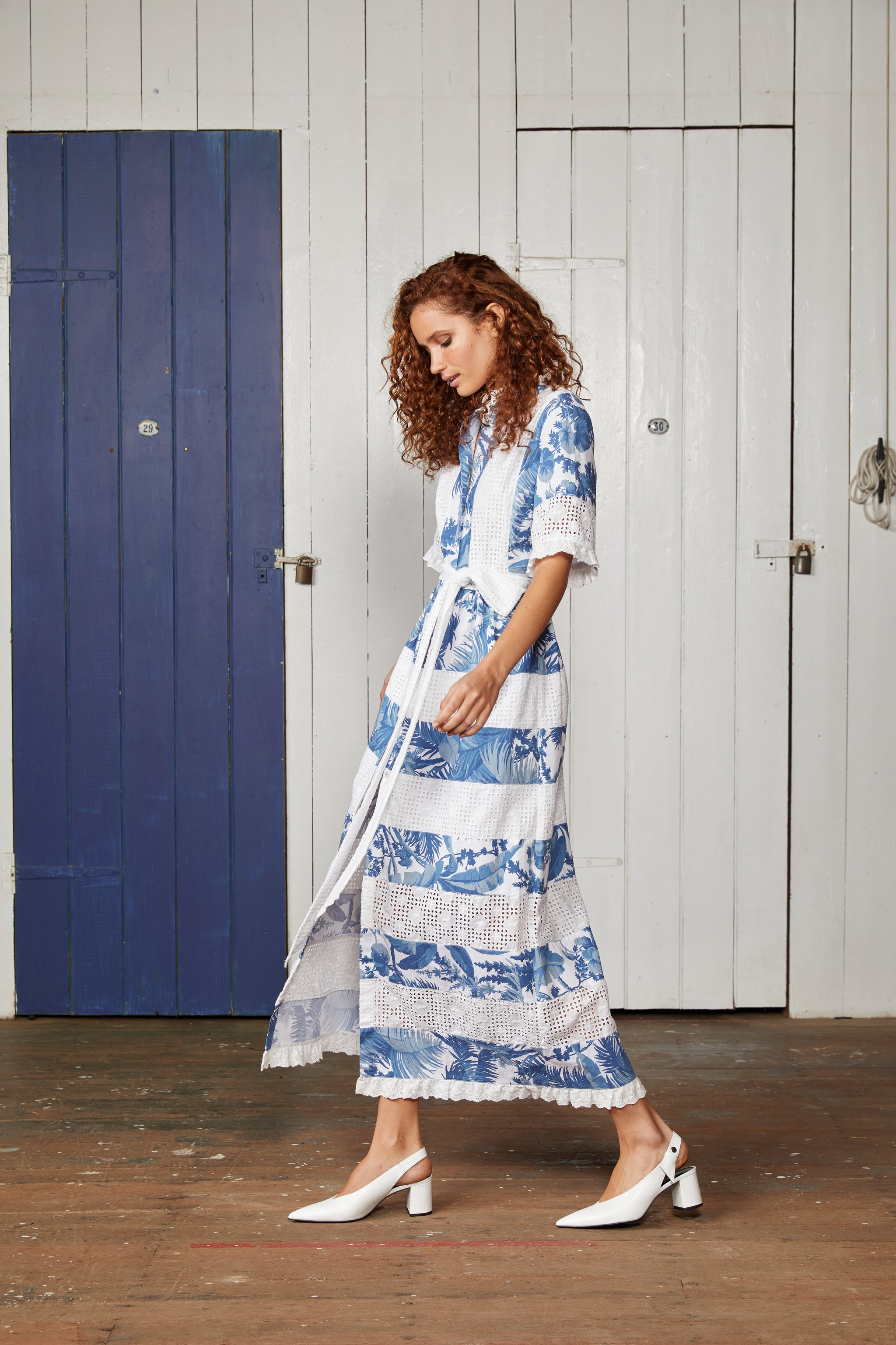 Binny Blue and White Tropical Print Semi Fitted Shirt Dress with Lace Trim and Removable Belt