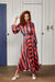 Navy and Red Striped Satin Long Sleeved Maxi Dress