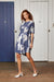 Navy Blue Cotton Drawstring Shirt Dress with Map Print