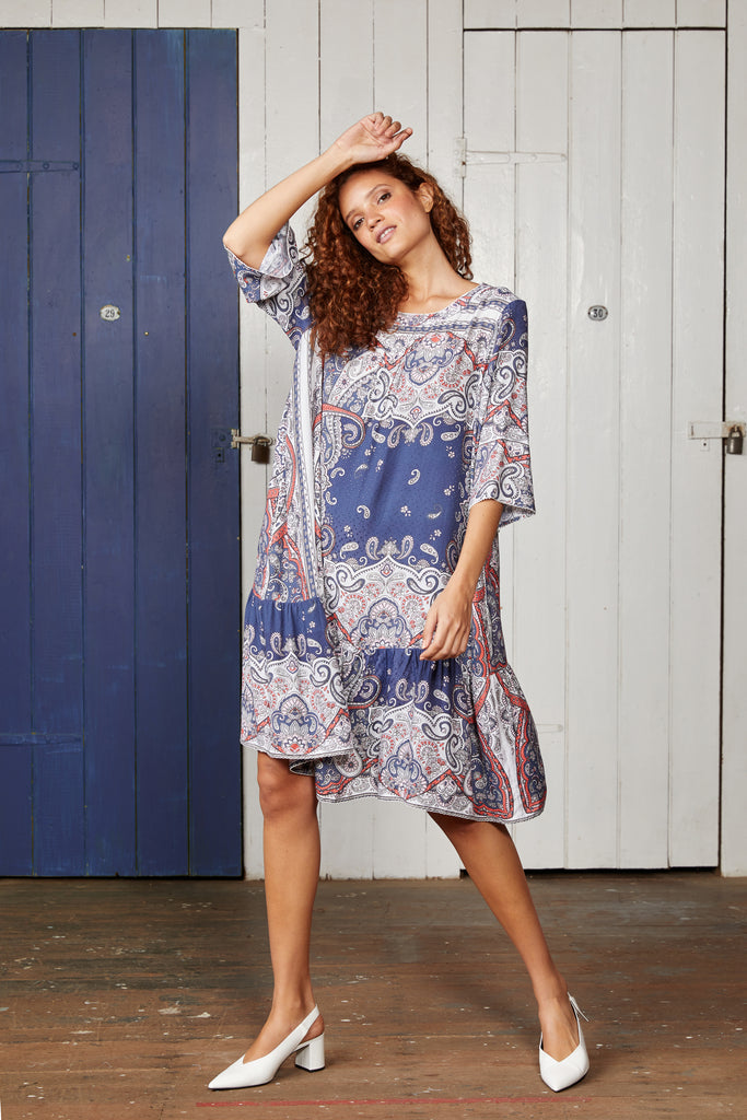 Blue Paisley Swing Dress