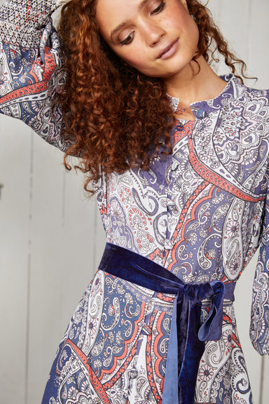 Blue Paisley Maxi Shirt Dress with Velvet Tie
