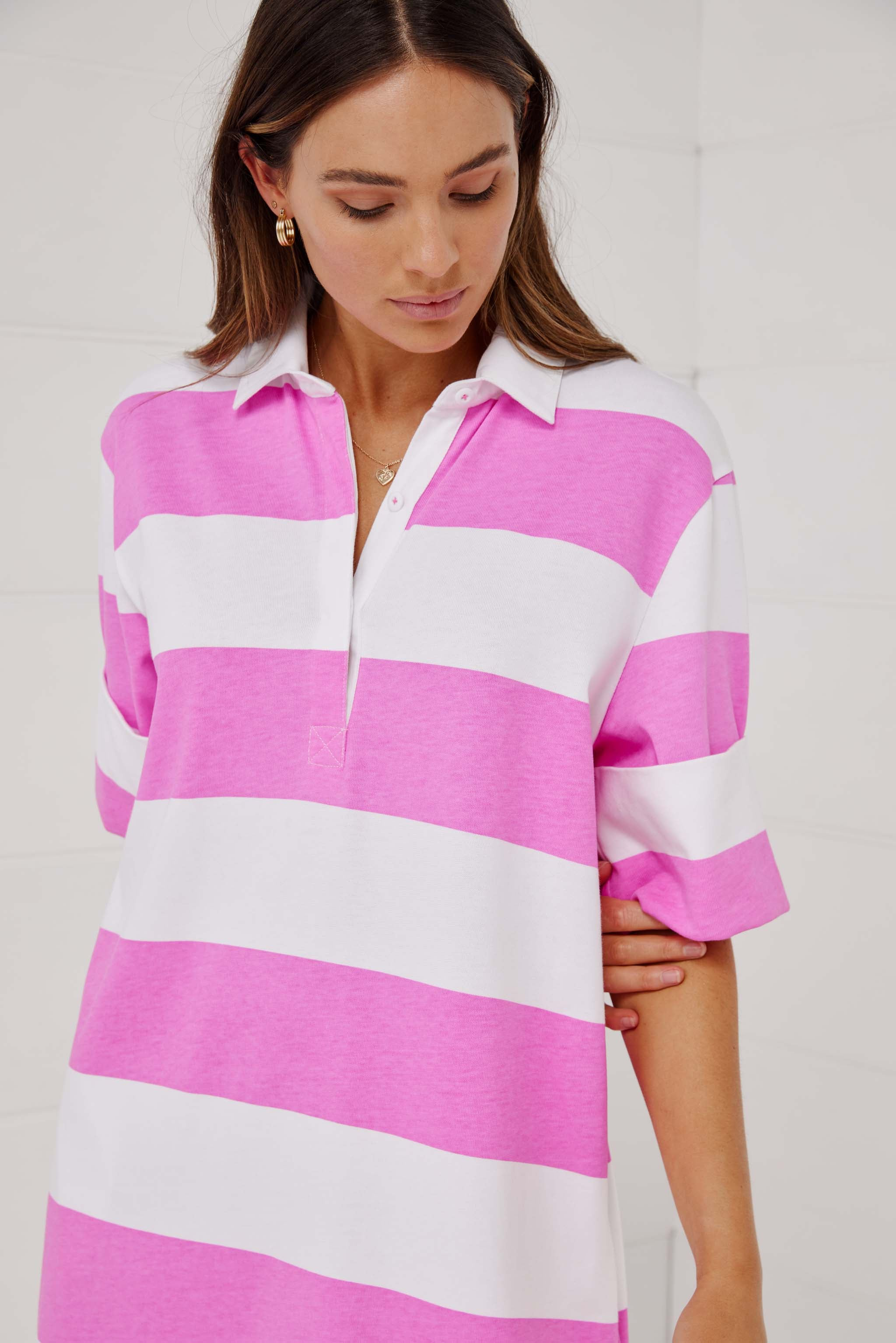 FOR LOVE OR MONEY SHORT SLEEVE RUGBY DRESS NEON PINK.