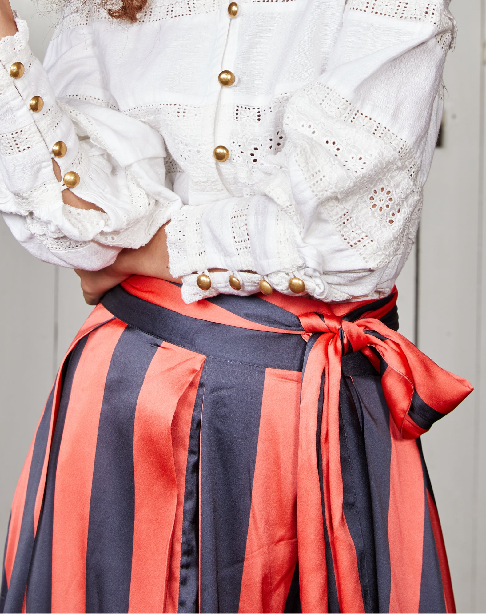 Navy Blue and Red Striped Satin Box Pleat Maxi Skirt
