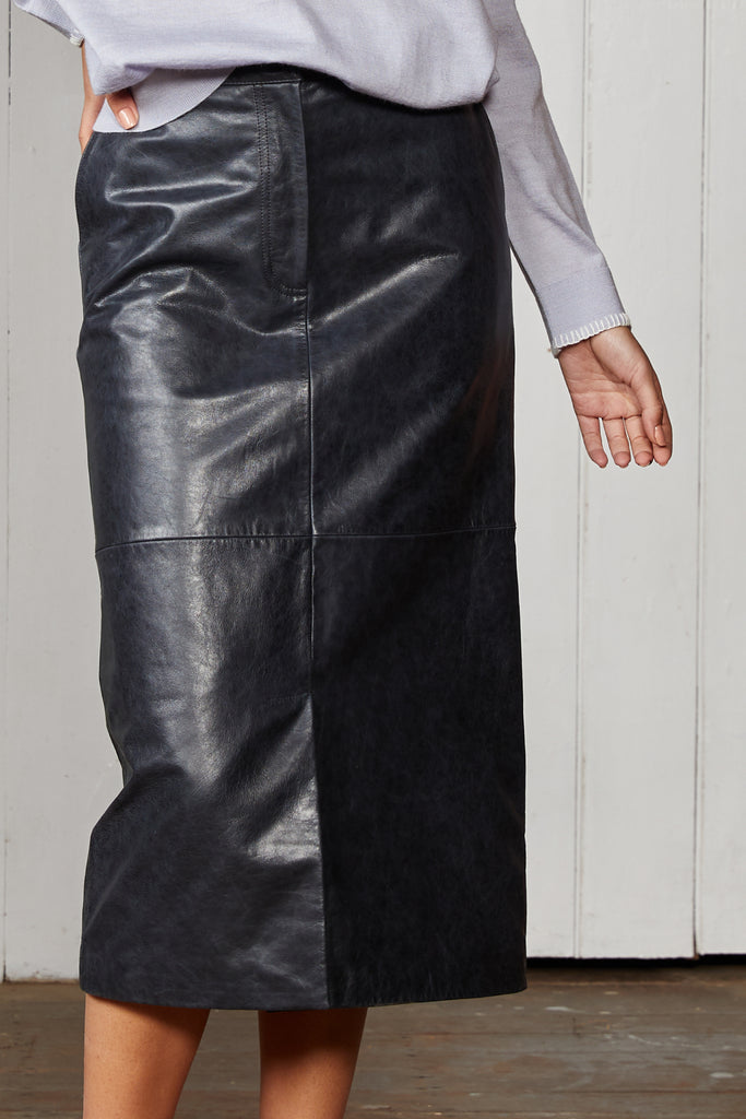 CUTTERS LEATHER MIDI SKIRT. LAST ONE SIZE 10!