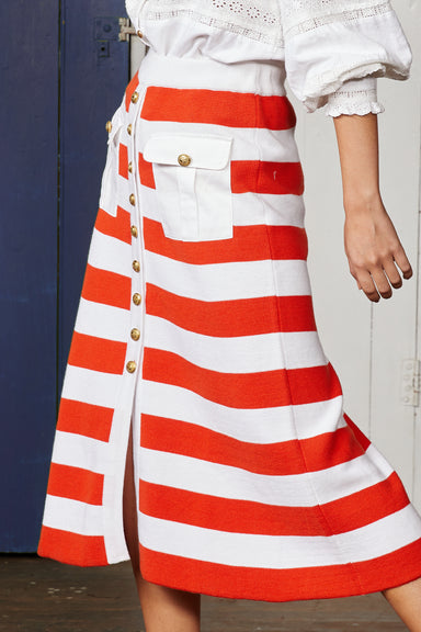 Knit Button Through Midi Skirt with Red and White Stripes and Pockets