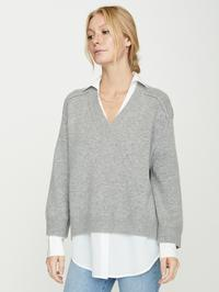 V Neck Layered Pullover Swtr
