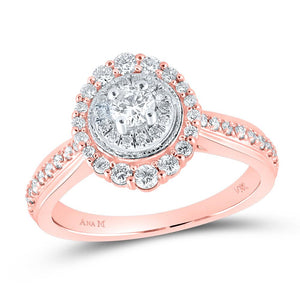 14kt Rose Gold Round Diamond Halo Bridal Wedding Engagement Ring 5/8 Cttw