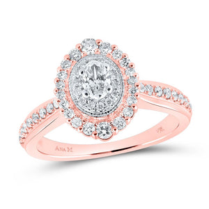 14kt Rose Gold Oval Diamond Halo Bridal Wedding Engagement Ring 5/8 Cttw