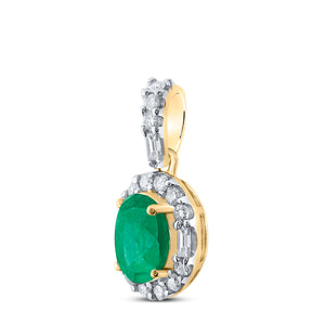 14kt Yellow Gold Womens Oval Emerald Diamond Fashion Pendant 1 Cttw