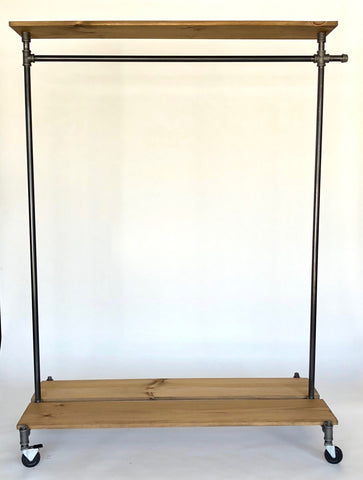 Industrial clothing rack with top shelf