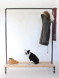 Industrial clothing rack with Cedar planks