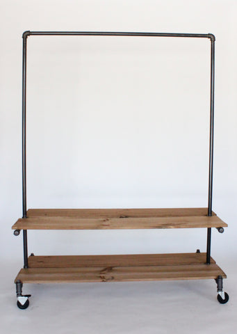 Industrial clothing rack with shelves