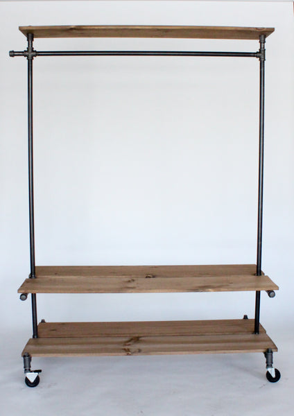 Double shelf clothing rack with top shelf