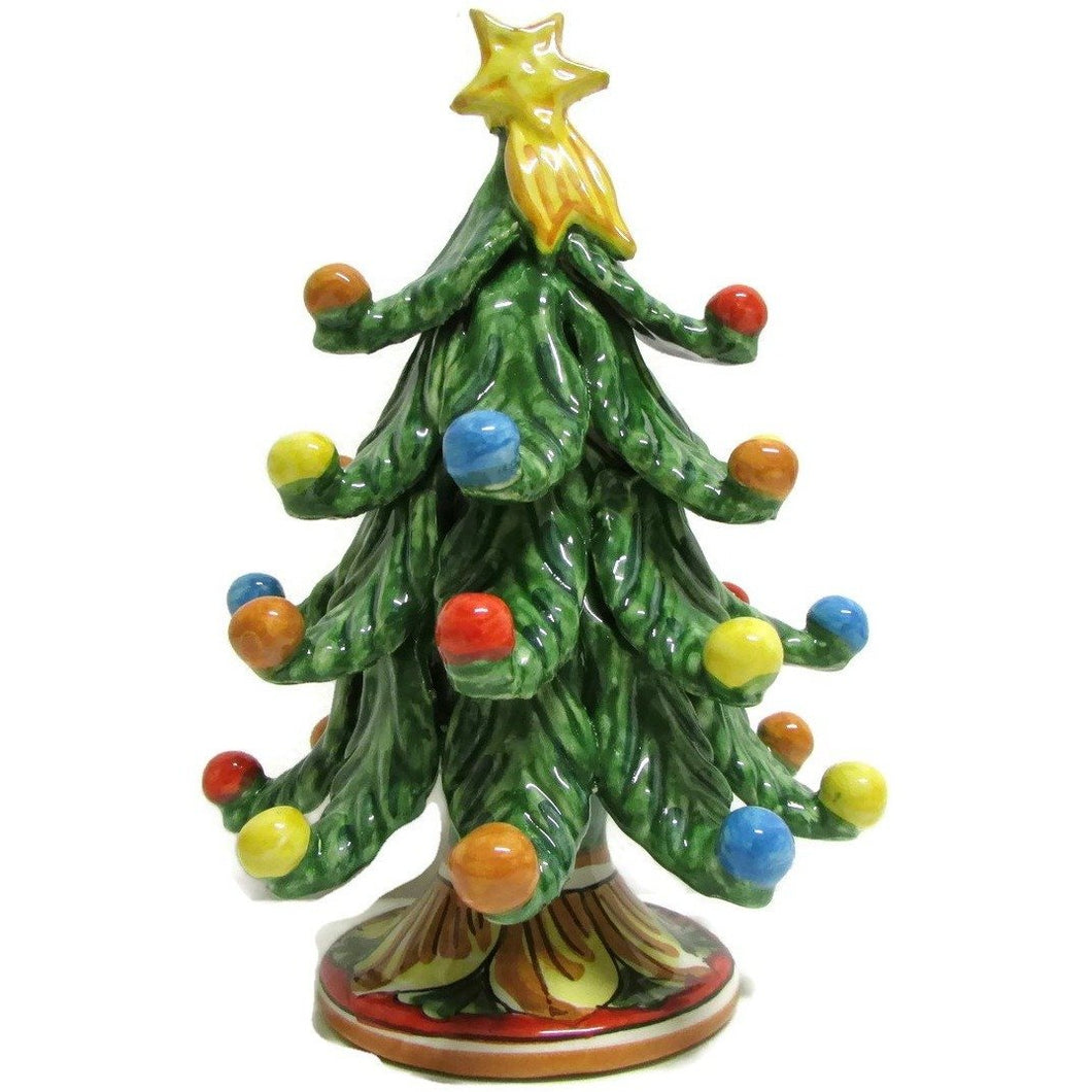 Green Christmas Tree in Caltagirone Ceramics, H 17
