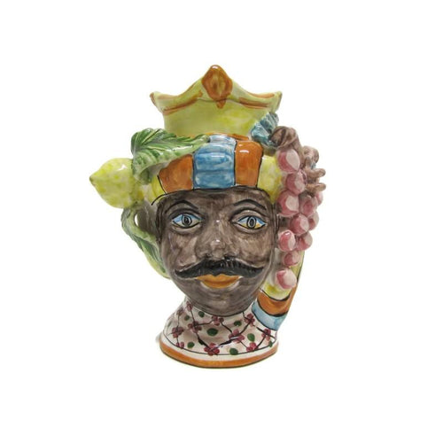 Moor's head in Caltagirone artistic ceramics, h 18 cm