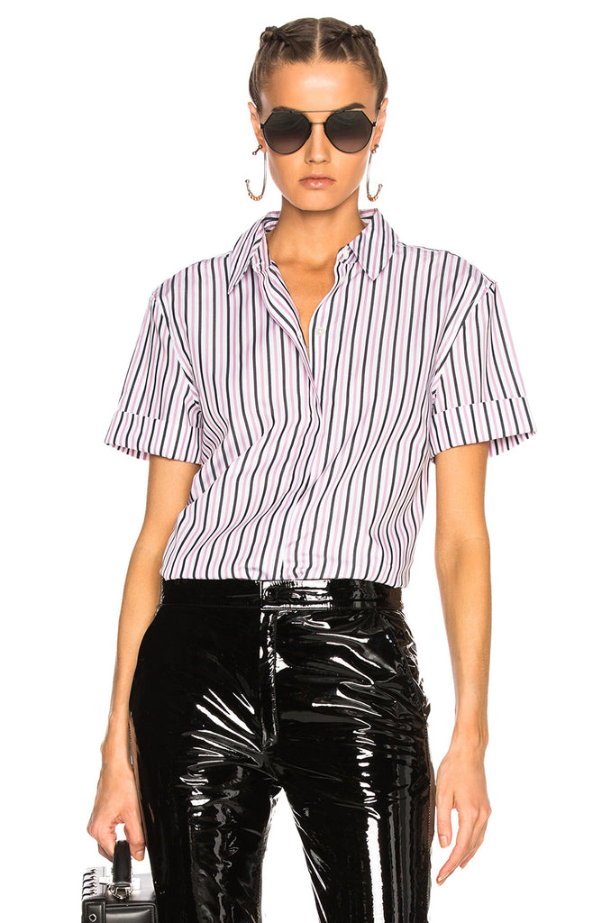 Equipment Paulette Short Sleeve Button Down in Bright White/Orchid Smoke