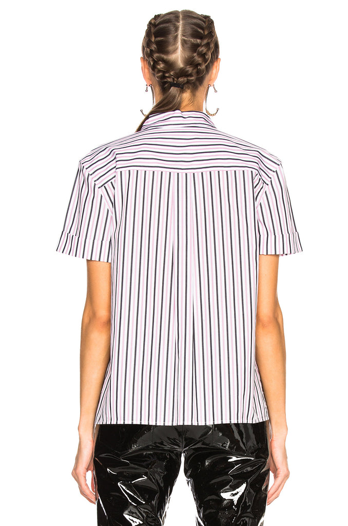Paulette Short Sleeve Button Down in Bright White/Orchid Smoke