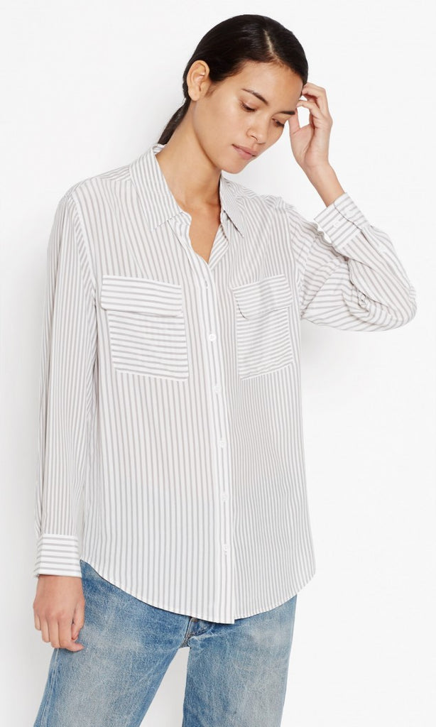 Equipment Signature Blouse in Bright White/Moondust