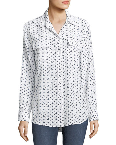Signature Blouse in Bright White/Multi with Moons and Stars