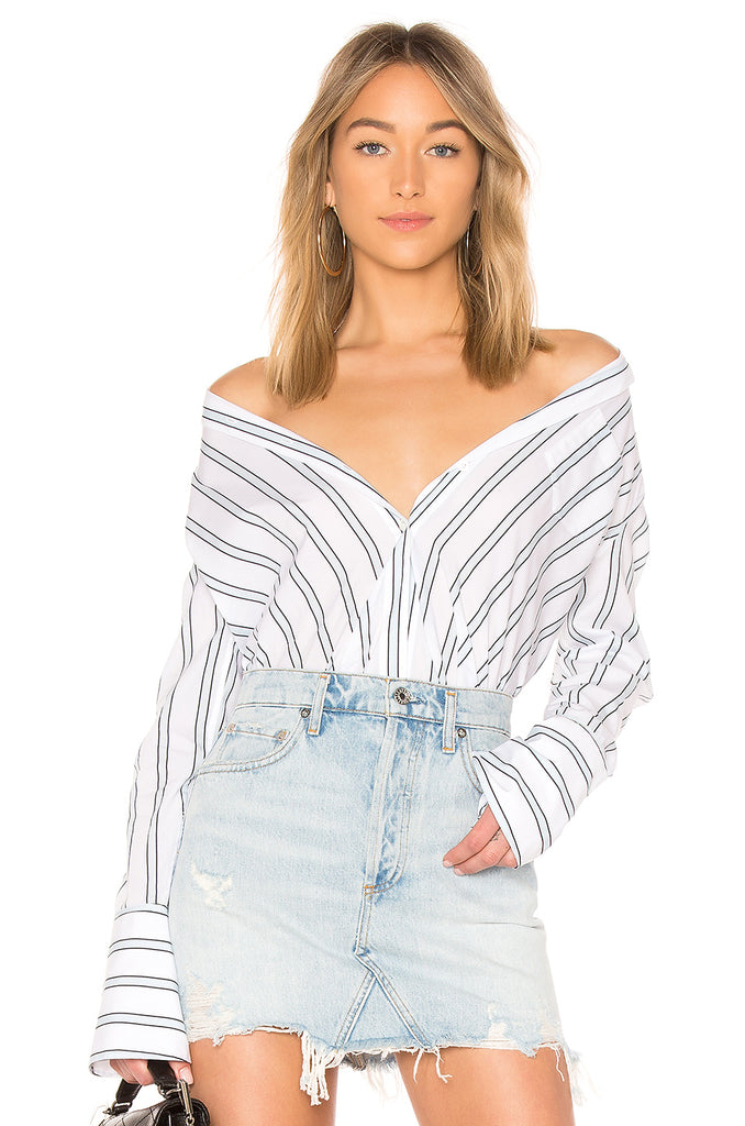 Equipment Huntley Blouse in Bright White/Cool Breeze