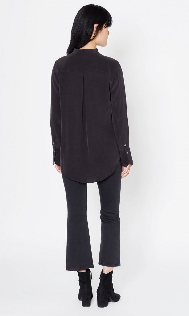 Janelle Silk Blouse in True Black