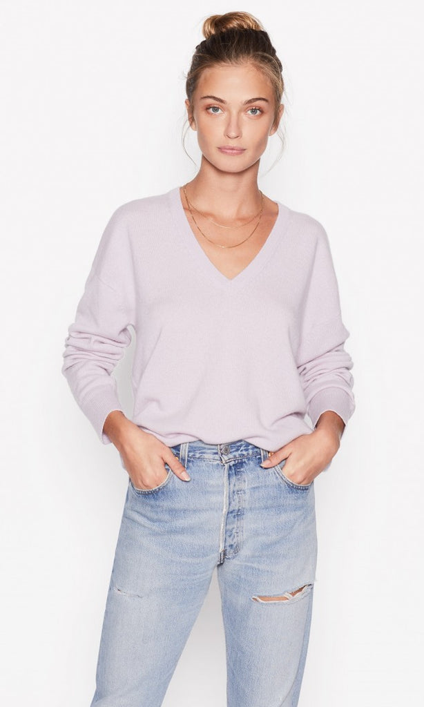 Lucinda V Neck Cashmere Sweater in Violet Ice