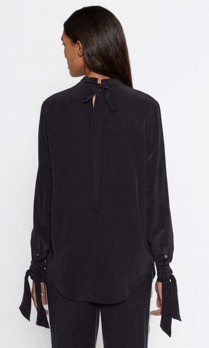 Equipment Aurora Tie Silk Blouse in True Black