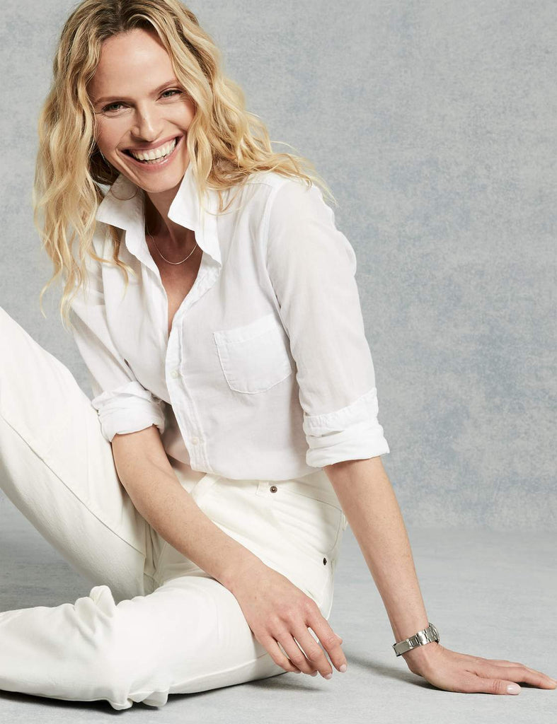 Frank & Eileen Barry Cotton Voile Button Down Shirt in White