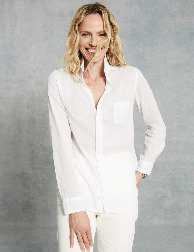 Barry Cotton Voile Button Down Shirt in White