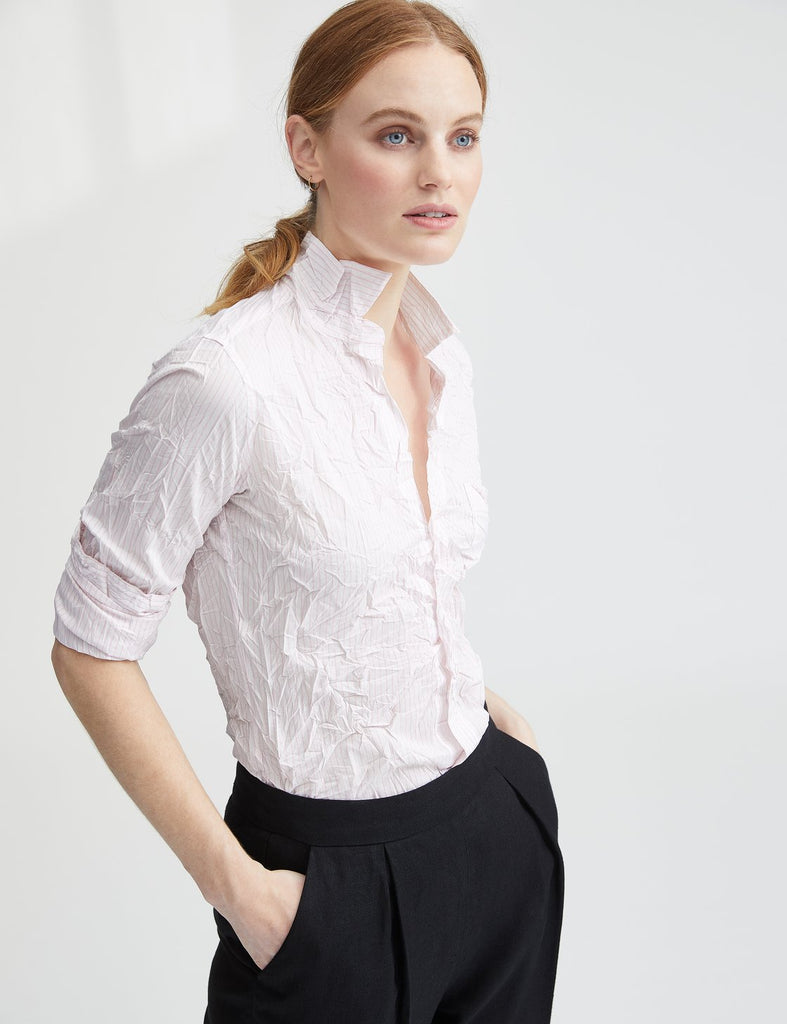Barry Crinkle Shirt in Pink/White Stripe