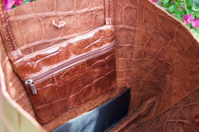 Jijou Capri Embossed Brown Crocodile Print Tote Bag