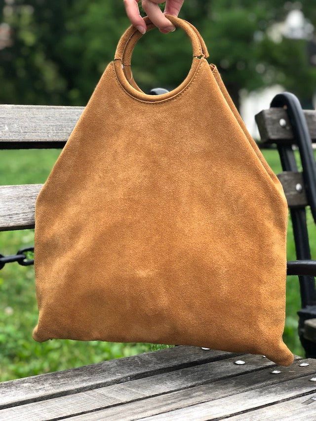 Jijou Capri Montreal Medio Suede Leather Tote Bag in Camel